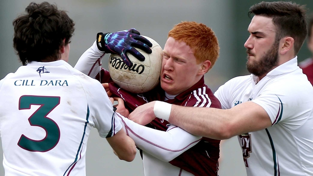 Kildare's David Hyland and Fergal Conway with Adrian Varley of Galway