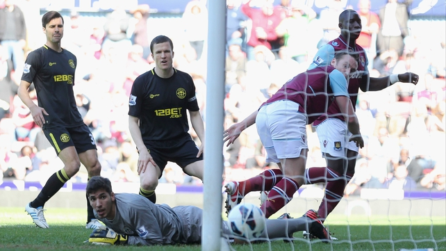 West Ham's Matt Jarvis sees his effort find the net