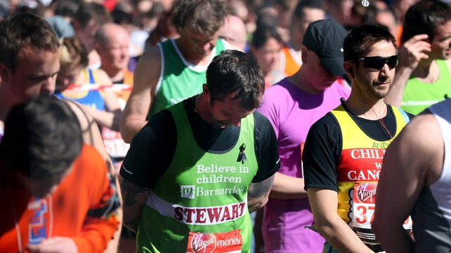 Competitors in London remember the victims of the Boston attacks before today's race