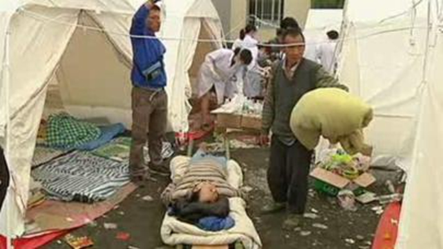 Field hospitals have been set up deal with the quake casualties