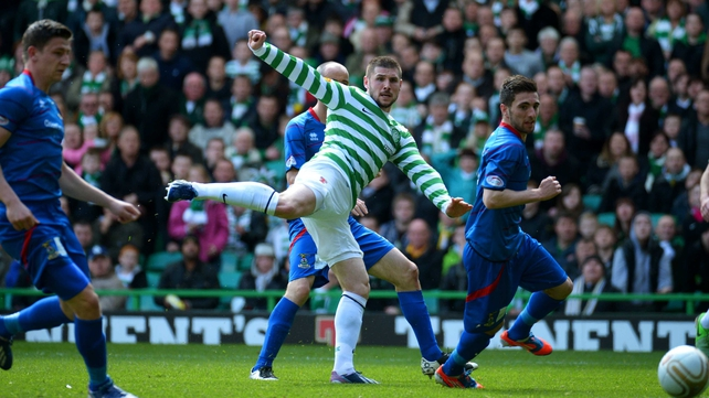 Gary Hooper of Celtic scores the opening goal
