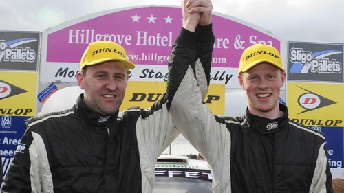 James O'Reilly (L) and Sam Moffett celebrate victory