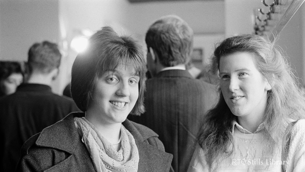 Dearbhla Collins (left) and Dearbhile O'Donnell (right) at The National Concert Hall Dublin 1988.