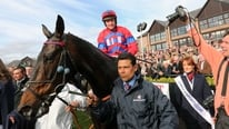 Watch jockey Barry Geraghty on Sprinter Sacre's victory in the Boylesports Irish Champion Chase, during which he was shaken up to beat the gallant Sizing Europe.