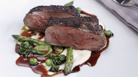 Rump of Spring Lamb in a Wild Mushroom Crust accompanied with pea purée and asparagus - This is a great recipe that offers all the enjoyment of lamb in season.  Lamb rump is a great value and versatile cut of meat.