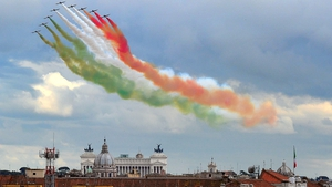 The Frecce Tricolori aerobatic demonstration team flies over the Tomb of the Unknown Soldier in Rome in a ceremony to mark the re-election of President Giorgio Napolitano