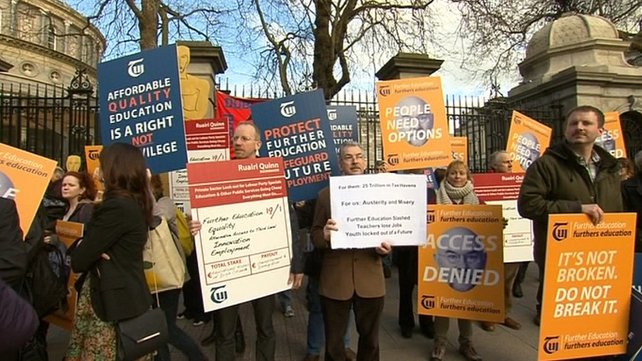 Protesters said cuts will mean many courses will be scrapped