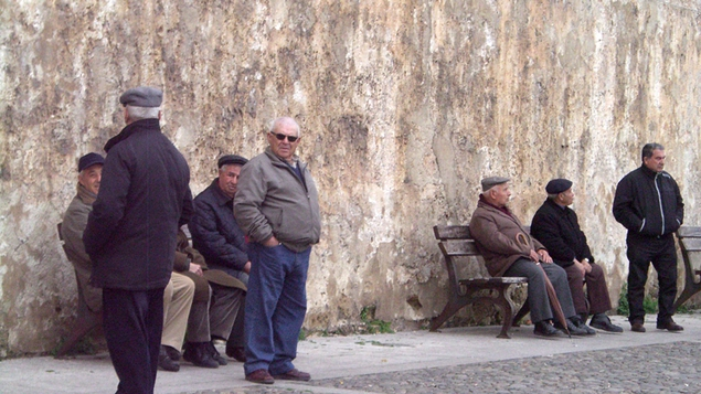 Men gathered in Alghero