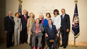 Jimmy and Rosalyn Carter, Bill and Hillary Clinton, George HW Bush and Barbara Bush, George W Bush and Laura Bush and President Barack Obama and first lady Michelle Obama at the opening of the George W. Bush Presidential Center