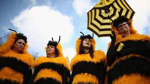 Campaigners dressed as bees gather on Parliament Square in London, for a protest against pesticides