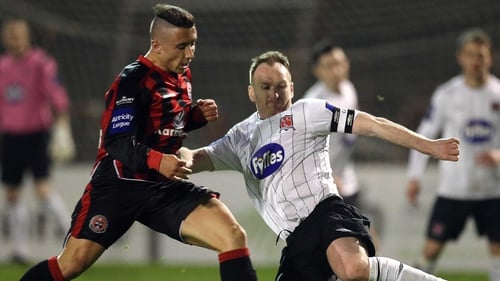 Bohemians' Chris Lyons (in action here last week with Stephen O'Donnell of Dundalk) grabbed a brace at Dalymount Park