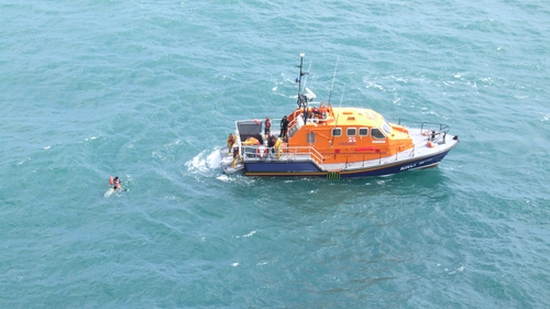 The men were located over 1km west of their diving position (Pic: Peter Leonard, Irish Coast Guard)