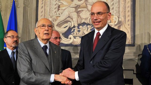 President Giorgio Napolitano with prime-minister-in-waiting Enrico Letta
