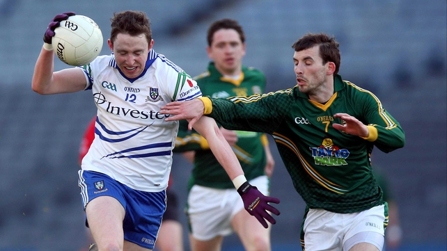 Monaghan's Eoin Duffy breaks away from Davy Dalton of Meath