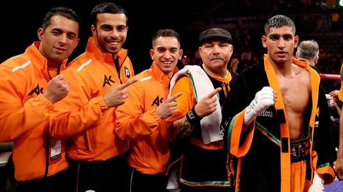 Amir Khan celebrates victory over Julio Diaz