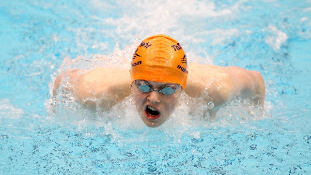 Brendan Hyland swam 54.50 to set a new Irish senior men's 100m butterfly record