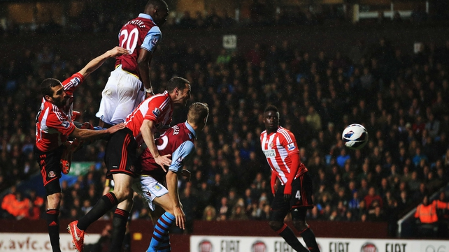 The talismanic Christian Benteke climbs highest to head home for Aston Villa