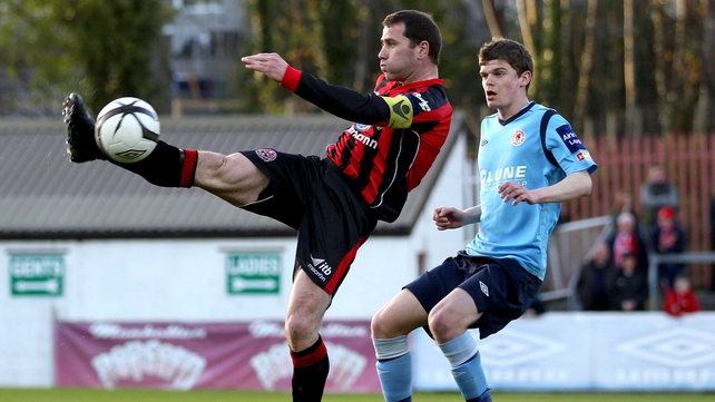 Pats' Sean Gannon and Dave Mulchay of Bohs