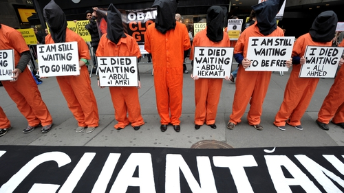 Protesters call for the closure of the Guantanamo Bay detention camp