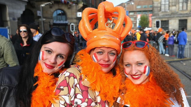 Dutch people celebrate the inauguration of King Willem Alexander of the Netherlands