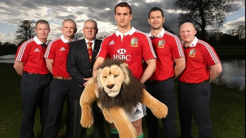Sam Warburton and the Lions coaching team at this morning's announcement