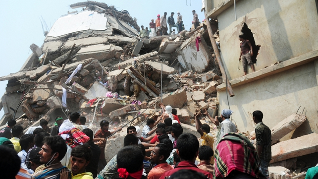 The eight-storey building collapsed in Savar, on the outskirts of Dhaka