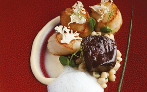 Neven Maguire's Seared Scallops with Confit of Pork Cheek and Cauliflower Textures
