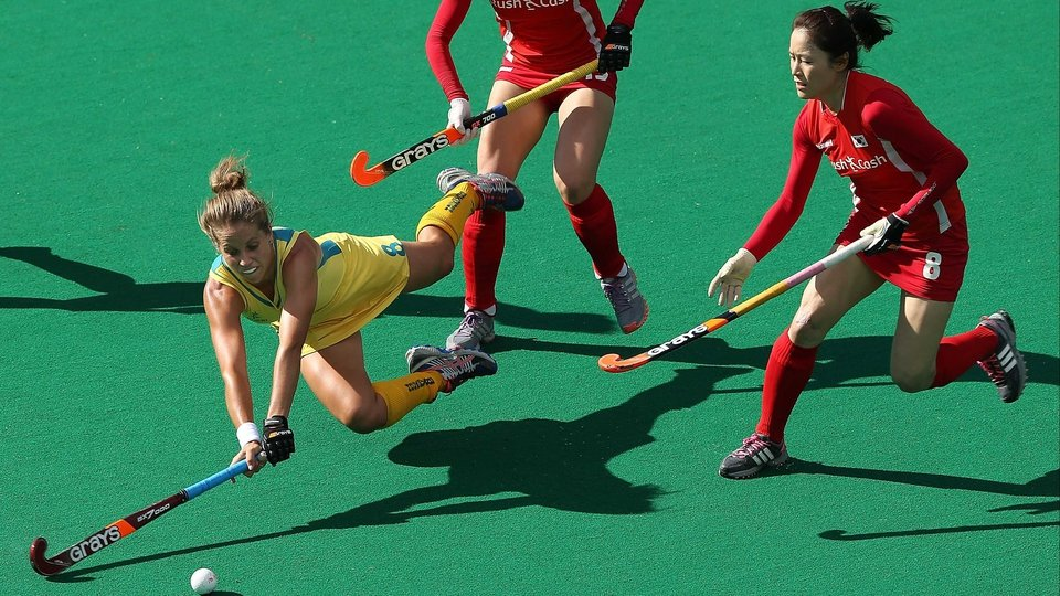 Australia's Ashleigh Nelson of Australia dives for the ball against Korea during the Test match in Perth, Australia