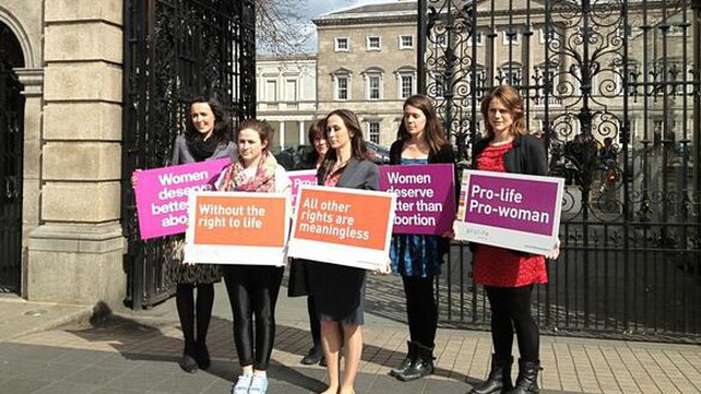 Pro-Life campaigners outside Leinster House