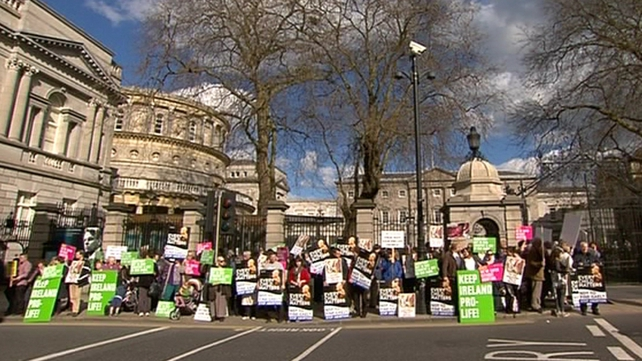 Protesters gathered outside Dáil