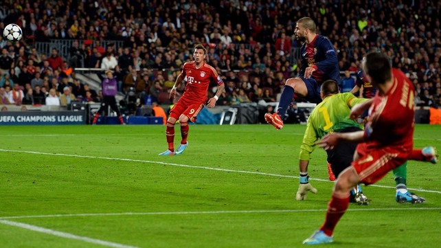 Gerard Pique's abject attempted clearance gave Bayern Munich a two-goal lead at the Nou Camp