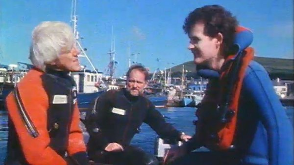 Aonghus McAnally and divers in Dingle, 1987