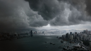 Clouds build up over the Victoria harbour before a storm in Hong Kong