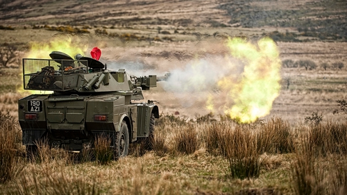 The Defence Forces' Panhard AML 90 Armoured Vehicle takes part in an exercise in the Glen of Imaal (Pic: Jason Byrne)