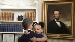 """It's Wednesday. Need a hug?"" was the caption on this image released on Twitter by the official Barack Obama account"