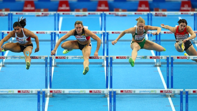 Nevin Yanit (l) of Turkey won gold at the European Indoor 60m hurdle with Derval O'Rourke (2r) of Ireland finishing in fourth