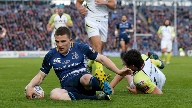 Andrew Conway crosses for one of his three tries as Leinster secured a home semi-final
