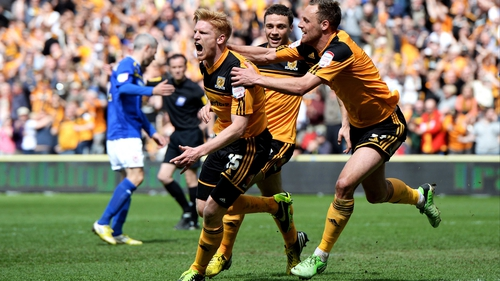 Paul McShane celebrates after putting Hull in front against champions Cardiff