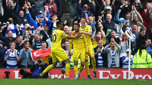 Adam Le Fondre celebrates scoring Reading's third goal