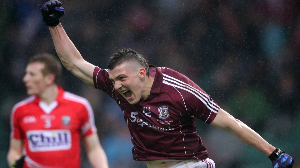 Galway's Damien Comer celebrates his crucial score as the Tribesmen won the All-Ireland Under-21 Football Championship