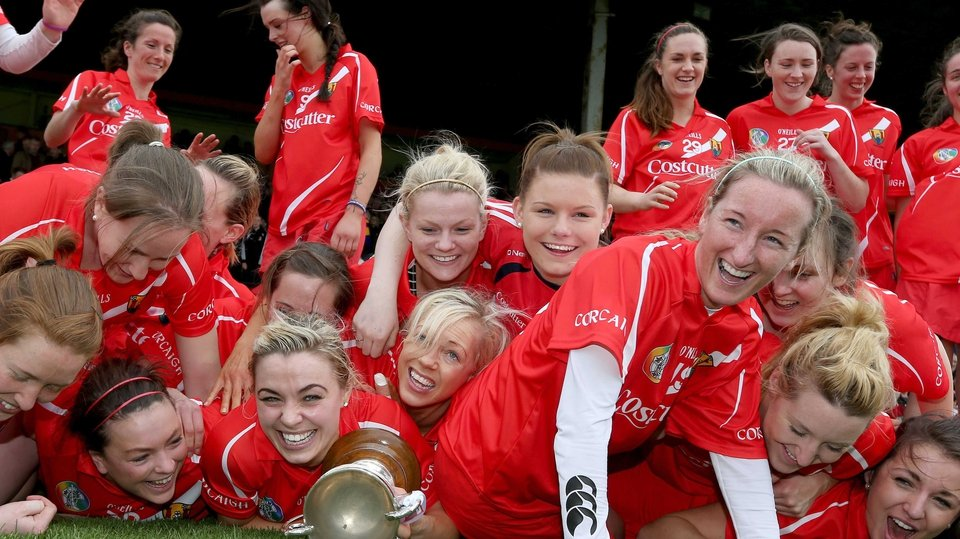 The Cork ladies celebrate after their 0-12 to 1-07 win over Wexford in Nowlan Park
