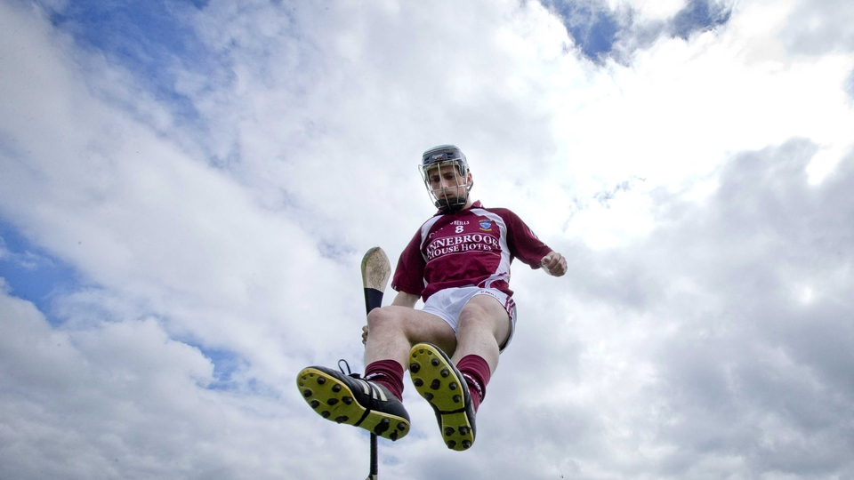 Eoin Price makes an impressive arrival for the Westmeath team photo