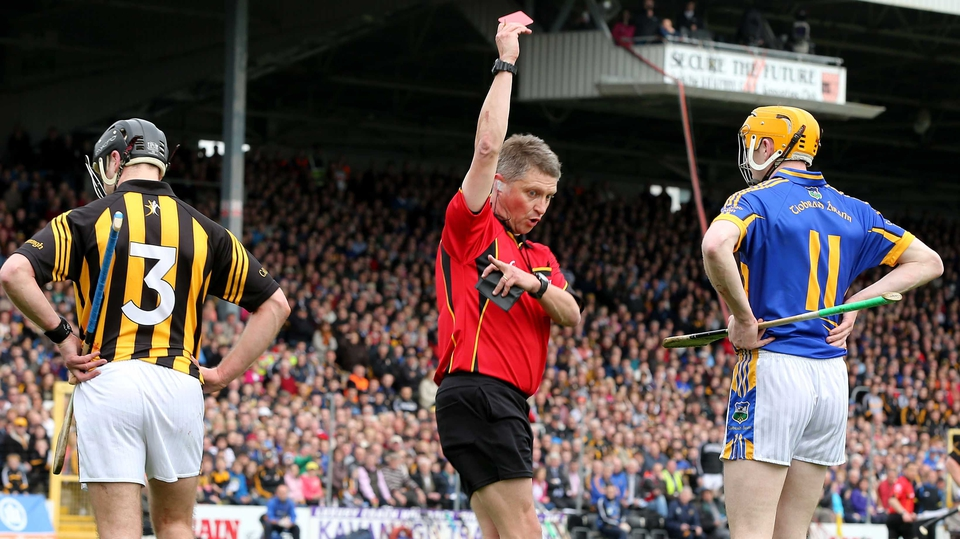 JJ Delaney and Lar Corbett both saw red as Kilkenny beat Tipperary in the National Hurling League final at Semple Stadium