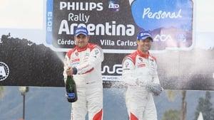 Sebastien Loeb (right) and Daniel Elena (left) celebrate their victory