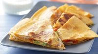 Chicken Quesadilla with Sour Cream and Tomato Salsa - As quick as it is delicious.
