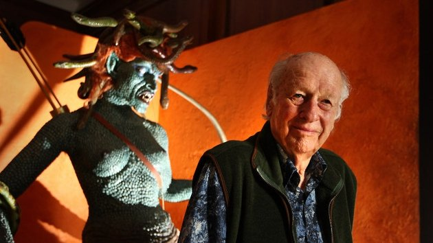 Ray and the model of Medusa he created for Clash of The Titans