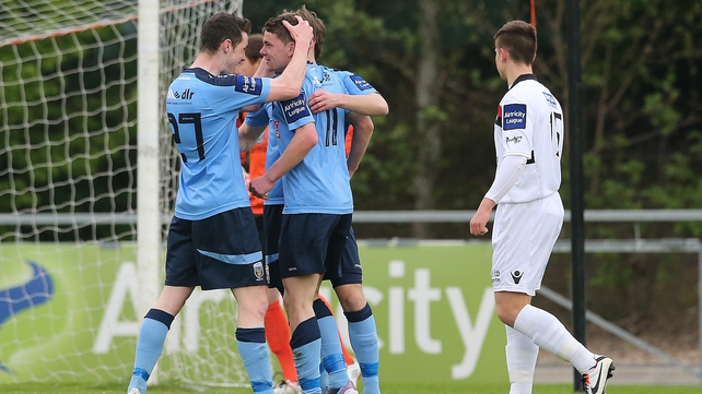 UCD players celebrate after taking the first-half lead against Bohemians
