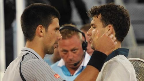 Grigor Dimitrov (r) beat world number one Novak Djokovic 7-6 (8/6) 6-7 (10/8) 6-3