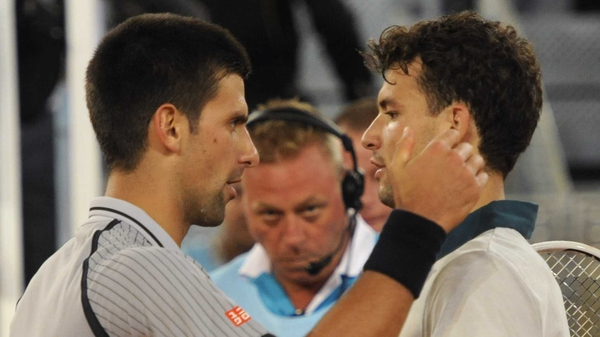 Grigor Dimitrov (r) beat world number one Novak Djokovic 7-6 (8/6) 6-7 (10/8) 6-3