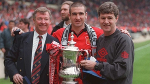...and then celebrating an FA Cup final victory over Liverpool with Eric Cantona and Brian Kidd